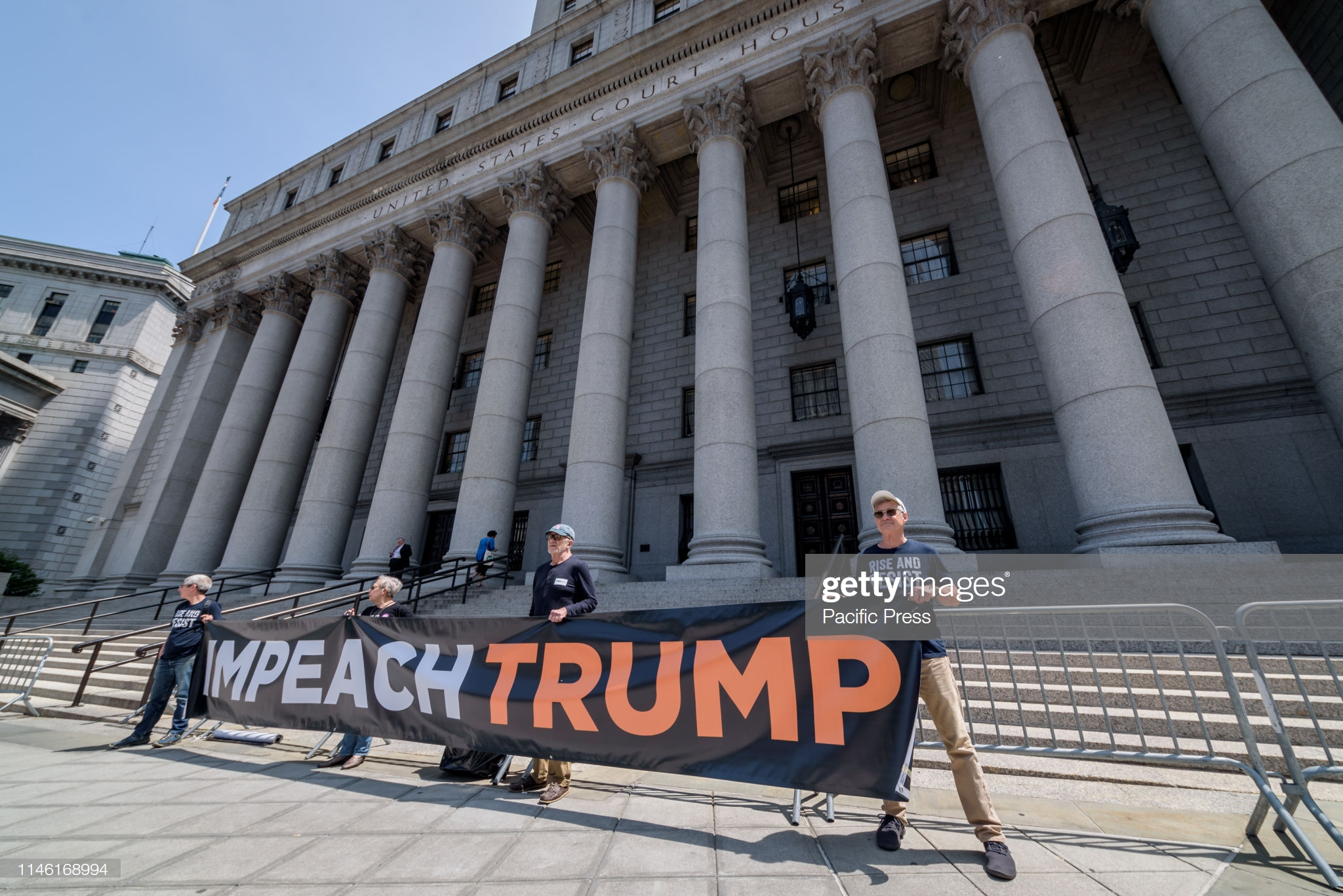THURGOOD MARSHALL UNITED STATES COURTHOUSE, NEW YORK, UNITED STATES - 2019/05/22: The day Trump's lawyers (Consovoy McCarthy Park) appeared to represent the Trumps and Trump Organization in the Southern District Court of New York, members of the NYC activist group Rise and Resist held a demonstration in front of the U.S. Courthouse in Foley Square to demand the release of Trump's financial records. (Photo by Erik McGregor/Pacific Press/LightRocket via Getty Images)